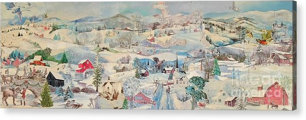 Snow Acrylic Print featuring the mixed media Snowy Village - Sold by Judith Espinoza