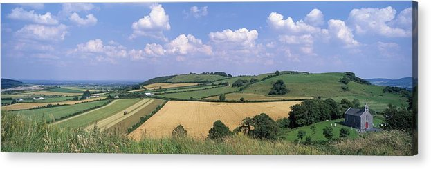 Cloud Acrylic Print featuring the photograph High Angle View Of Patchwork Fields by The Irish Image Collection