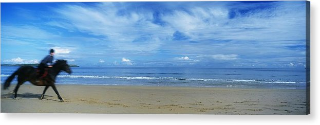 Adult Animal Acrylic Print featuring the photograph Man Riding A Pony On The Beach by The Irish Image Collection