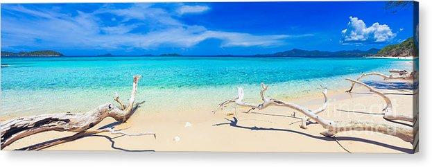 Sea Acrylic Print featuring the photograph Tropical Beach Malcapuya by MotHaiBaPhoto Prints