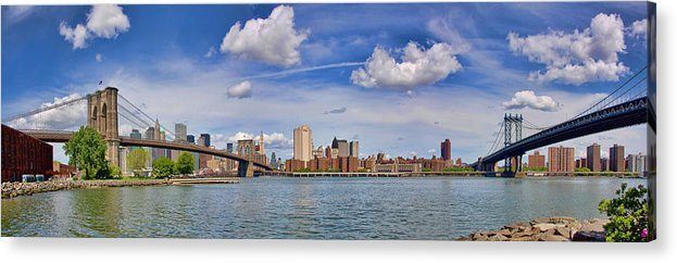 Brooklyn Bridge Acrylic Print featuring the photograph East River Crossings by June Marie Sobrito