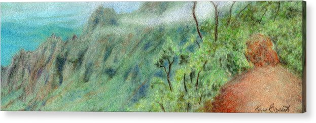 Rainbow Colors Pastel Acrylic Print featuring the painting Trail's End by Kenneth Grzesik
