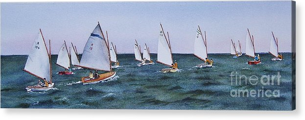 Sailboats Acrylic Print featuring the painting Beetlecat Race by Karol Wyckoff