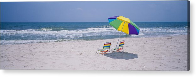 Photography Acrylic Print featuring the photograph Chairs On The Beach, Gulf Of Mexico by Panoramic Images