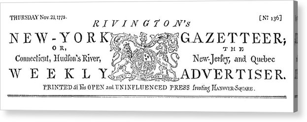 1773 Acrylic Print featuring the painting New York Gazetteer, 1773 by Granger