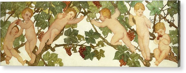Irish Acrylic Print featuring the painting Putti Frolicking In A Vineyard by Phoebe Anna Traquair