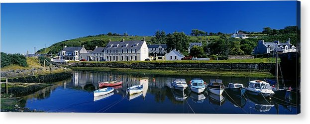 Architecture Acrylic Print featuring the photograph High Angle View Of Boats Moored At A by The Irish Image Collection
