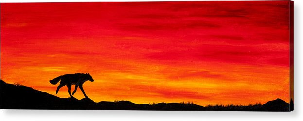 Wolf Canine Dog Fox Coyote Sunset Sundown Dusk Home Silhouette Red Sky Clouds Acrylic Print featuring the painting Journey Home by Beth Davies