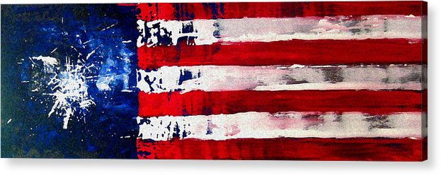 Flag Acrylic Print featuring the painting Patriot's Theme by Charles Jos Biviano