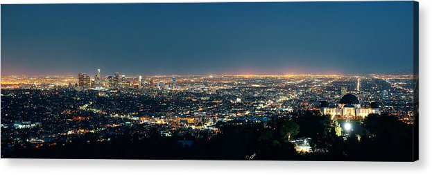 Architecture Acrylic Print featuring the photograph Los Angeles At Night by Songquan Deng