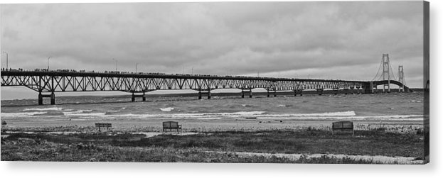 Mackinaw Bridge Acrylic Print featuring the photograph Benches And A Big Mac by Daniel Thompson