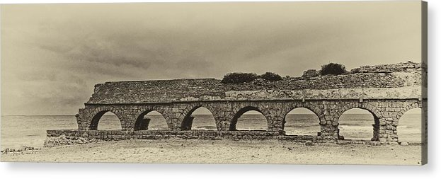 Israel Acrylic Print featuring the photograph Ceasarea Aqueduct 1 Antiqued by Mark Fuller