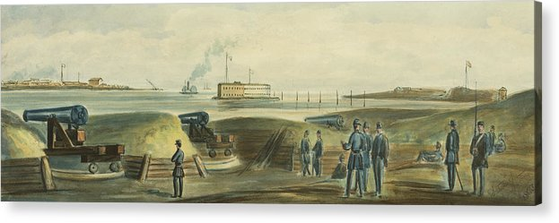 Harbor Acrylic Print featuring the drawing Charlestons Defense Circa 1863 by Aged Pixel