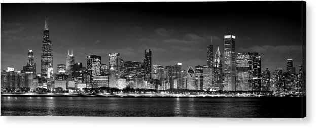 Chicago Skyline Acrylic Print featuring the photograph Chicago Skyline At Night Black And White by Jon Holiday