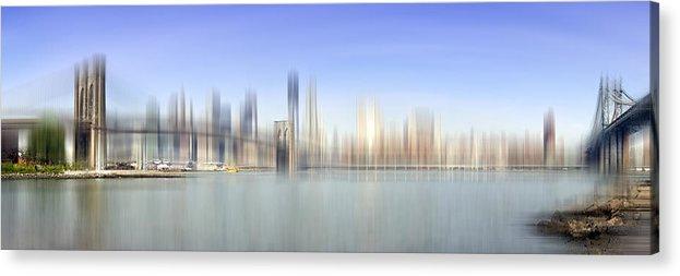 Distance Acrylic Print featuring the photograph City-art Manhattan Skyline I by Melanie Viola