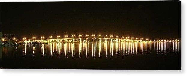 Jensen Beach Causeway Acrylic Print featuring the photograph Jensen Causeway At Night by Lynda Dawson-Youngclaus