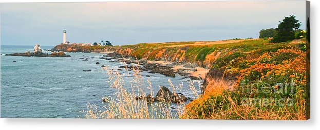 Lighthouse Acrylic Print featuring the painting Lighthouse In Summer by Artist and Photographer Laura Wrede