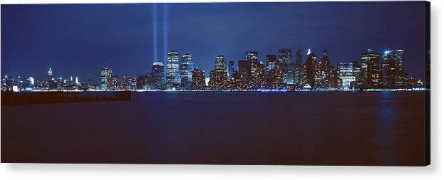 Photography Acrylic Print featuring the photograph Lower Manhattan, Beams Of Light, Nyc by Panoramic Images