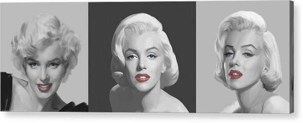 Marilyn Acrylic Print featuring the painting Marilyn Trio Red Lips Blue Eyes by Chris Consani