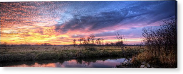 Sunset Acrylic Print featuring the photograph Mitchell Park Sunset Panorama by Scott Norris