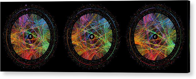 Pi Acrylic Print featuring the digital art Pi Phi And E Transition Paths by Martin Krzywinski