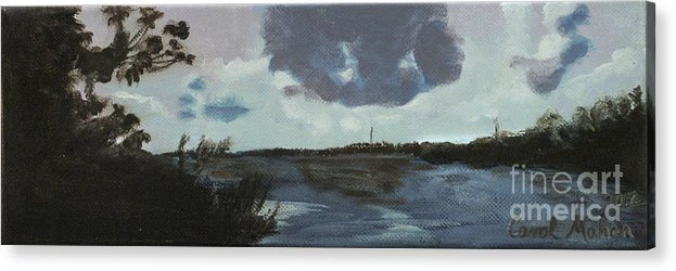 Blue Skies Acrylic Print featuring the painting Pointe Aux Chein Blue Skies by Carol Oufnac Mahan
