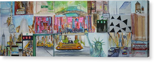 New York Acrylic Print featuring the painting Postcards From New York City by Jack Diamond