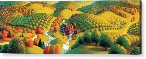 Fall Panorama Acrylic Print featuring the painting The Cider Mill by Robin Moline