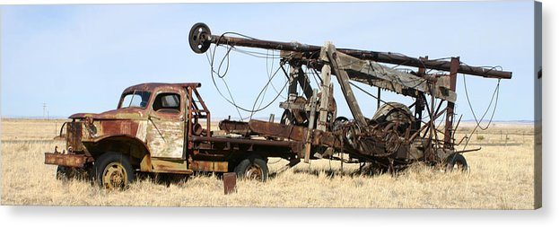 Thank You For Buying A 40.000 X 13.375 Print Of Vintage Water Well Drilling Truck To A Buyer From Ramah Acrylic Print featuring the photograph Vintage Water Well Drilling Truck by Jack Pumphrey