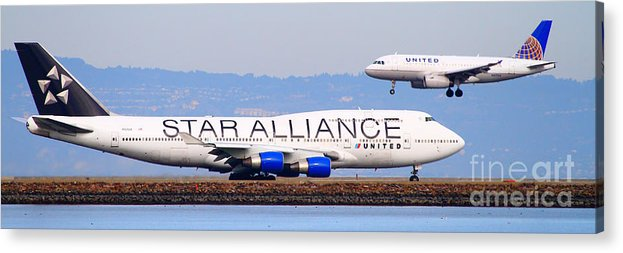 Pano Acrylic Print featuring the photograph Star Alliance Airlines And United Airlines Jet Airplanes At San Francisco Airport Sfo . Long Cut by Wingsdomain Art and Photography