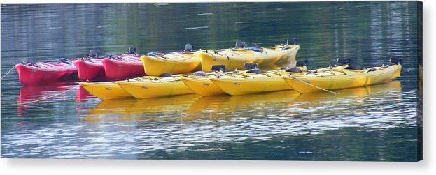 Kayak Acrylic Print featuring the photograph Waiting Kayaks by Carol Bruno