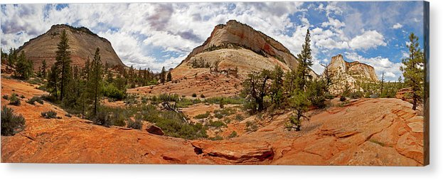 Zion Acrylic Print featuring the photograph Zion Checkerboard Mesa And Hoodoos by Gregory Scott