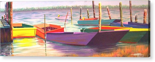 Boats Acrylic Print featuring the painting Bateau Mystique by Hugh Harris