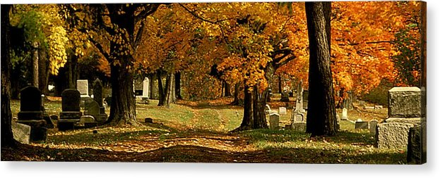 Fall Acrylic Print featuring the photograph Cemetary Road In Autumn by Roger Soule