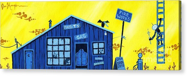 Gas Station Acrylic Print featuring the painting Did You See That by Dan Keough