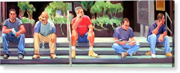 Figurative Acrylic Print featuring the painting Lunch Break - Men At Work Series by Merle Keller