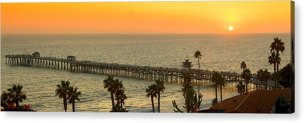 San Clemente Acrylic Print featuring the photograph On Golden Pier by Gary Zuercher