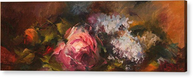 Floral Arrangements Acrylic Print featuring the painting Roses And Lilacs by Blake Originals - Marjorie and Beverly