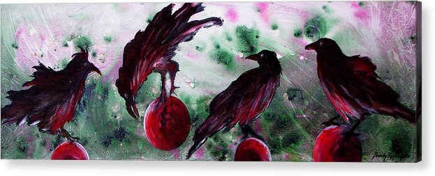 Raven Acrylic Print featuring the painting The Raven Still Beguiling by Sandy Applegate