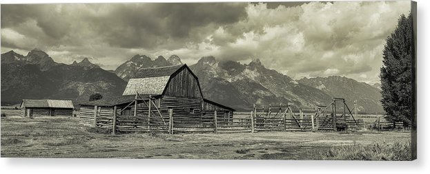 Silver Acrylic Print featuring the photograph Wyoming Mormon Row Moulton Barn Silver Panorama by James BO Insogna