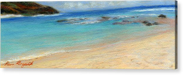 Coastal Decor Acrylic Print featuring the painting Aqua Moloa'a by Kenneth Grzesik