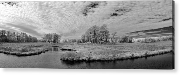 Red Acrylic Print featuring the photograph Chincoteague Island Infrared Pano by Jack Nevitt