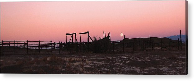 Corrals Acrylic Print featuring the photograph Pink Sunset Over Corral by Cathy Anderson