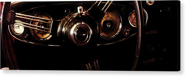 Steering Wheel Acrylic Print featuring the photograph At The Wheel by Erika Brown