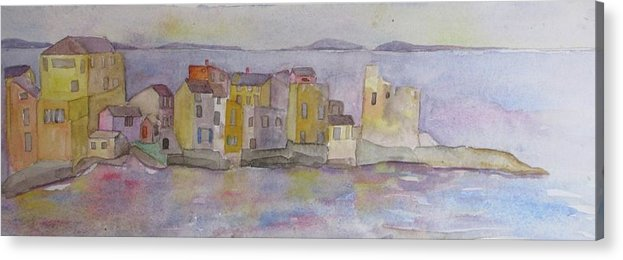 Corsica Acrylic Print featuring the painting island village in Corsica by Anne McMath