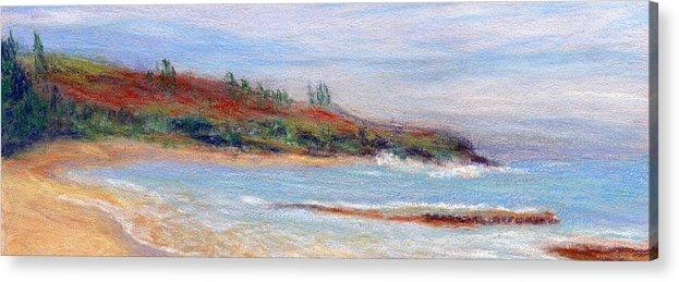 Coastal Decor Acrylic Print featuring the painting Moloa'a Beach by Kenneth Grzesik