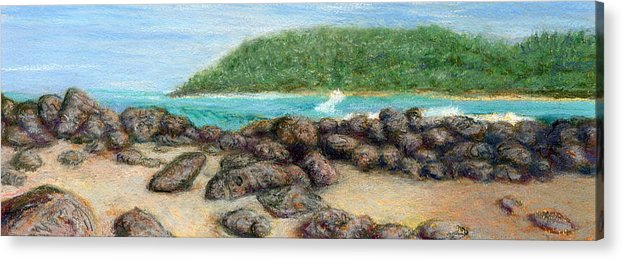 Coastal Decor Acrylic Print featuring the painting Moloa'a Rocks by Kenneth Grzesik