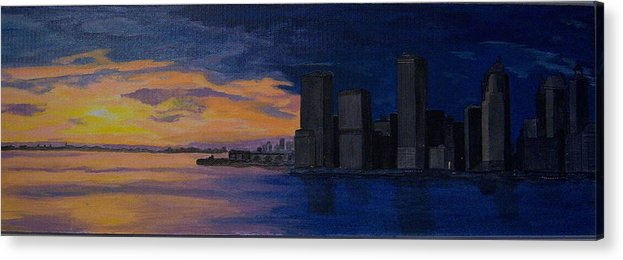 Sunset Acrylic Print featuring the painting Sunset In New York City by Nancy Nuce