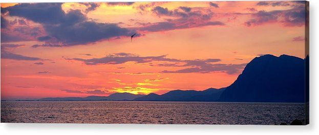 Greece Acrylic Print featuring the photograph 0016233 - Patras Sunset by Costas Aggelakis