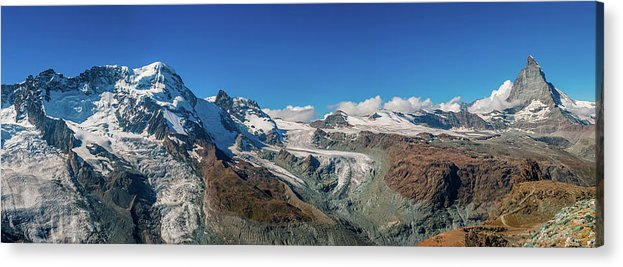 Pennine Alps Acrylic Print featuring the photograph High Mountains Of Pennine Alps In by Alpamayophoto